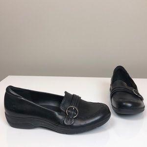 Earth Origins Black Leather Slip On Shoes